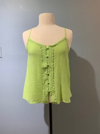 Lime Button Front Cami