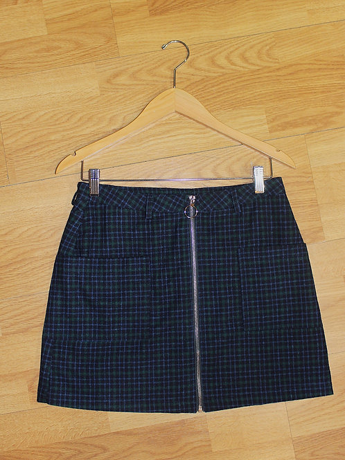 plaid front zip skirt