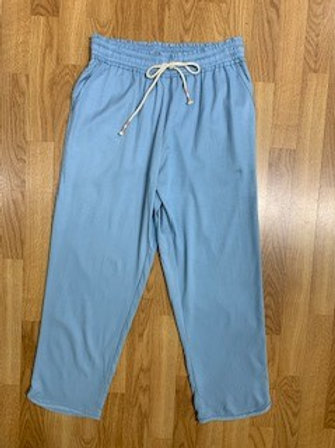 Sky Blue Chambray Cropped Pants