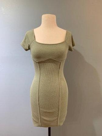 Olive Short Sleeve Ribbed Dress