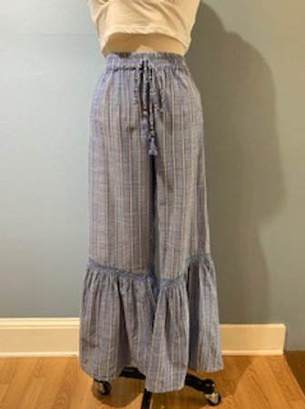 Striped Tie Pants With Bottom Flare