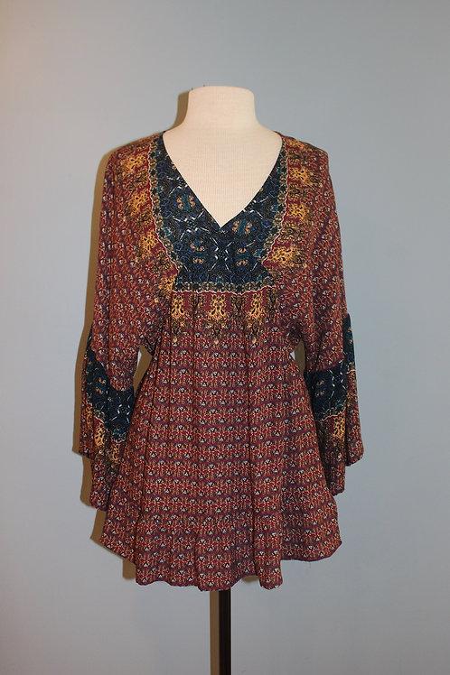 burgundy print bell sleeve tunic
