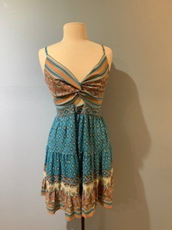 Blue And Orange Aztec Dress With Front Knot
