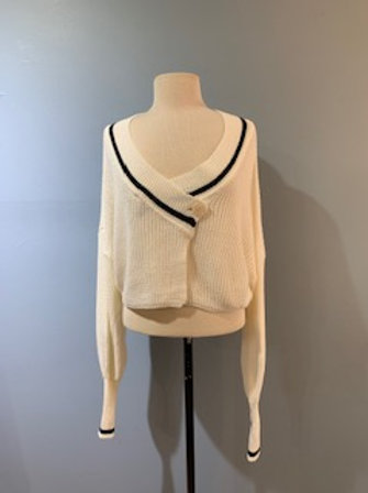 Cream Double Breasted Crop Sweater