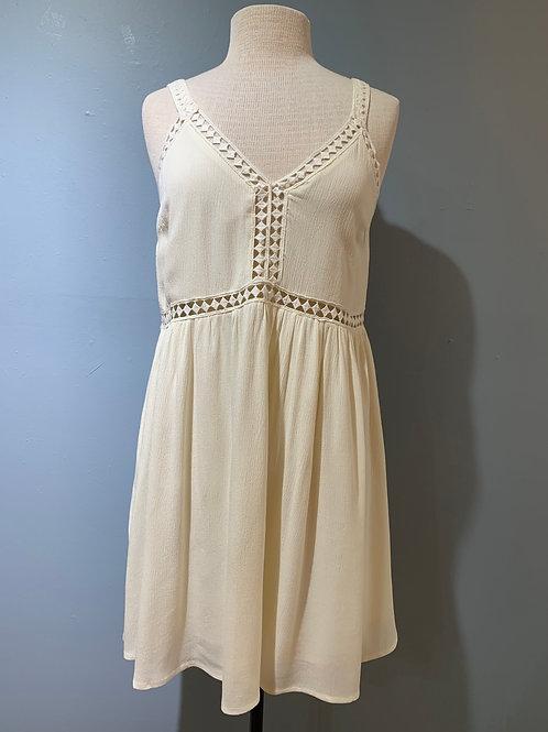 Cream Dress with Cutout Trim