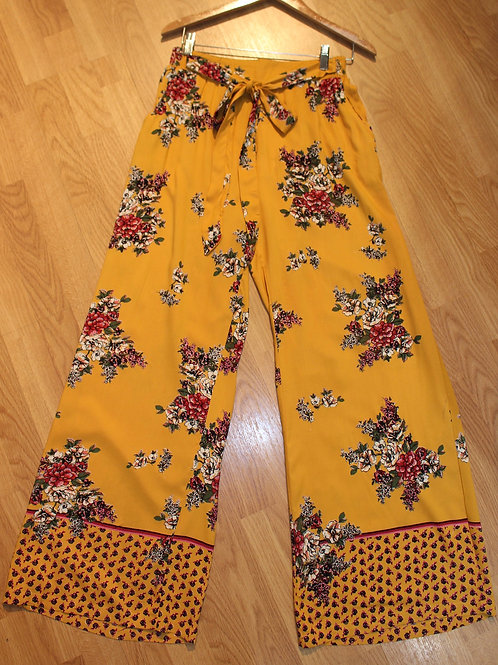 yellow floral wide leg pants