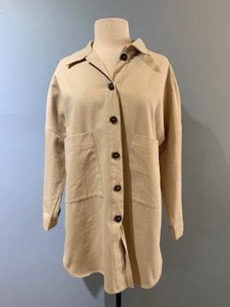 Tan Button Front Shirt Jacket