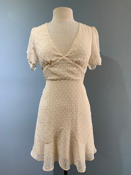 Cream Dress with Ruched Sleeve