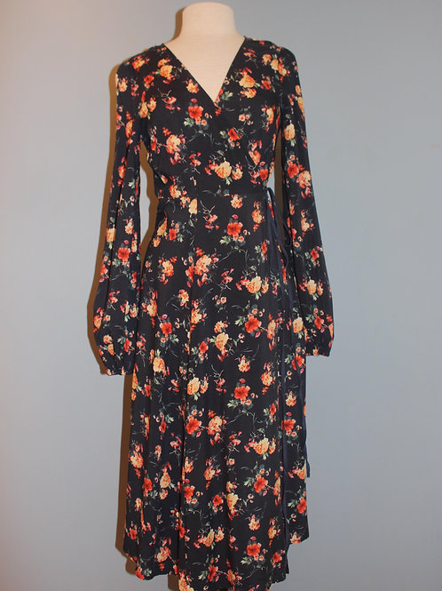 teal floral wrap dress