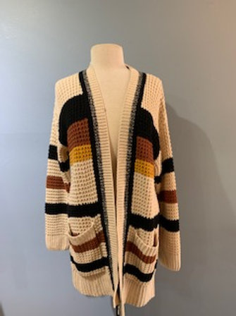 Mustard/Rust/Black Stripe Cardigan