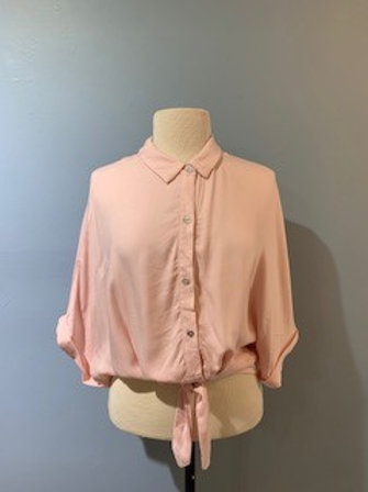 Pink Tie Front Button Down Blouse