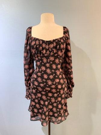 Black and Mauve Floral Dress