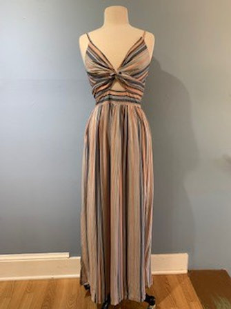 Orange and Blue Striped Maxi With Knot Front