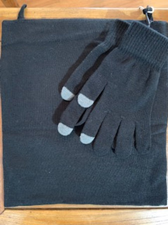Antimicrobial Gaiter w/Ear Loops and Texting Glove Set