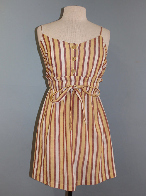 yellow stripe with tie waist dress