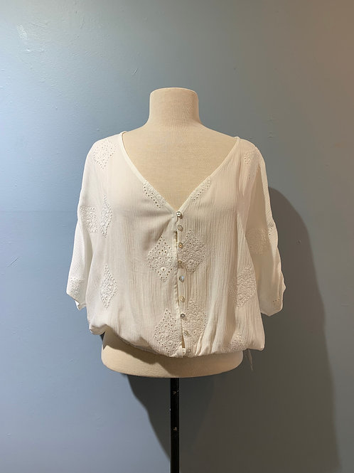 White Embroidered Blouse with Buttons