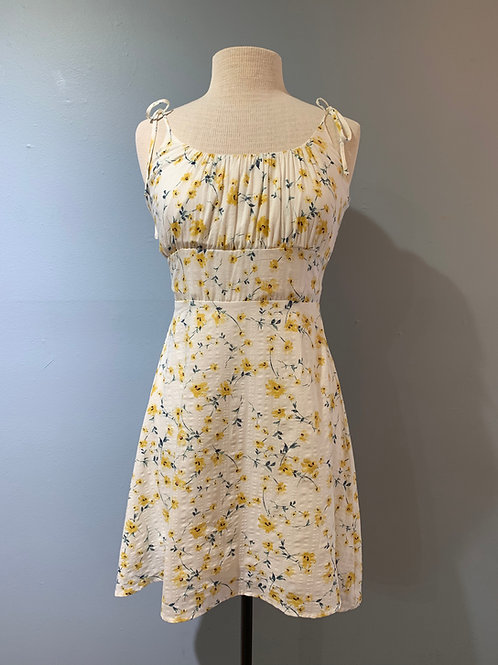 Yellow Floral Sundress with Tie Straps