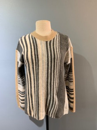 Grey Vertical Stripe Sweater
