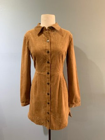 Caramel Cascade Cord Dress