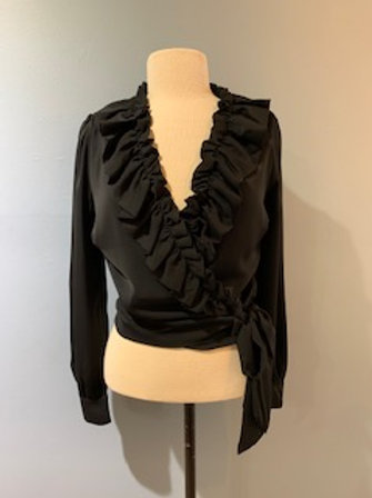 Wrap Blouse with Ruffle Collar
