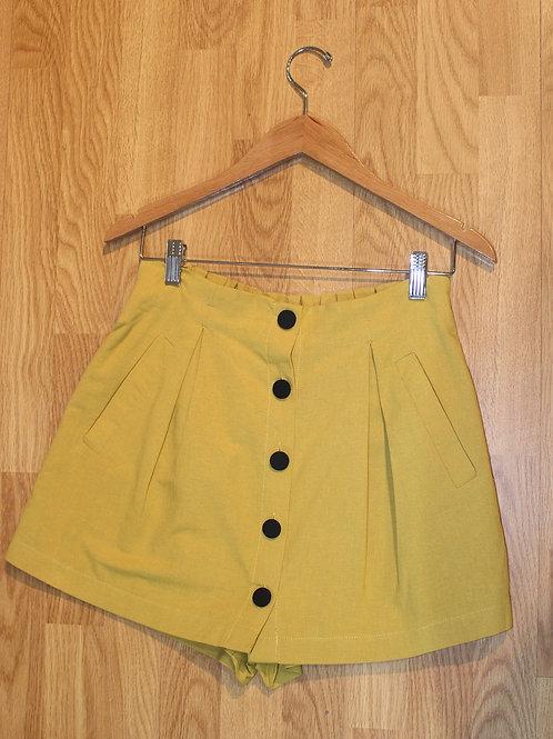 mustard button front skort
