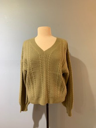 Washed Olive Cable Knit Sweater