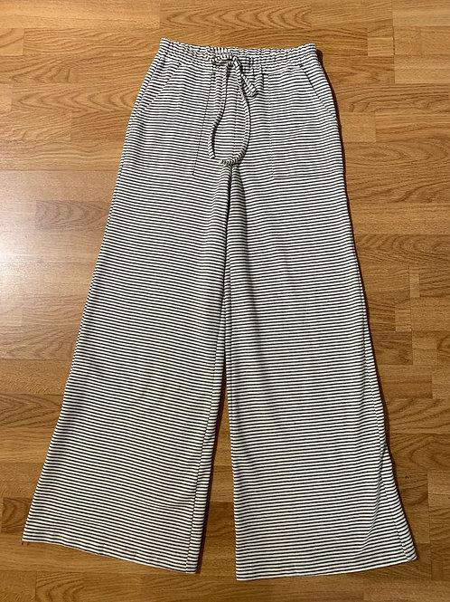 Charcoal Stripe Knit Wide Leg Pants