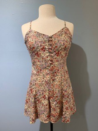 Floral Romper With Front Button Detail