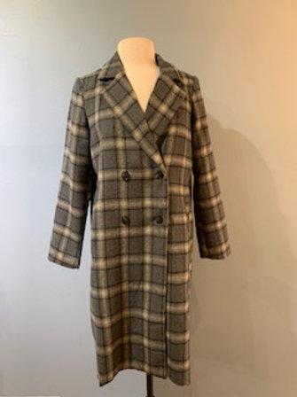 Charcoal Long Plaid Coat