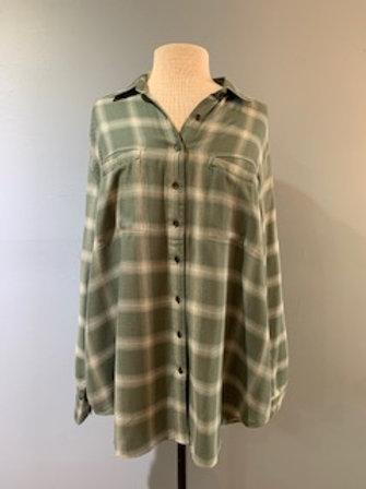 Mint Oversized Plaid Shirt