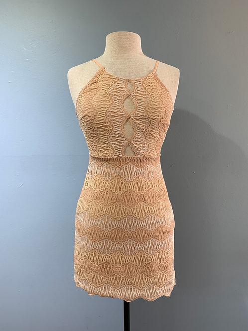 Peach Geometric Lace Dress