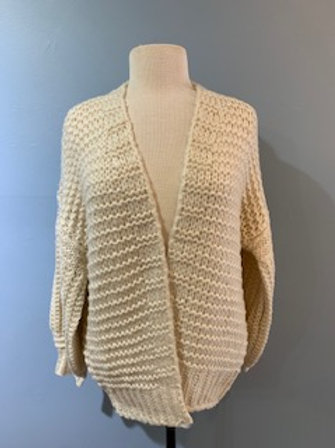 Chunky Ivory Cardigan with Balloon Sleeve