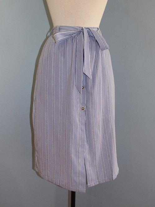 blue stripe button front midi skirt