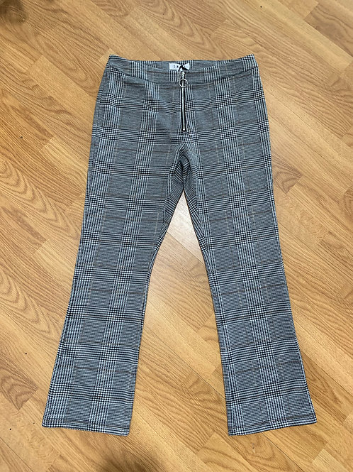 Plaid Flare Zip Front Pants
