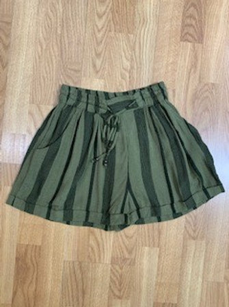 Olive And Black Stripe Shorts With Front Tie
