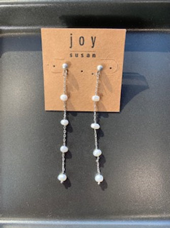 Silver Dangle Earrings with Pearls