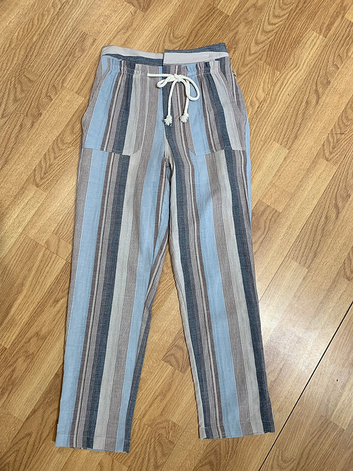 Blue Striped Drawstring Pants