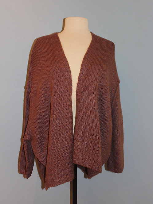 heather plum open cardi
