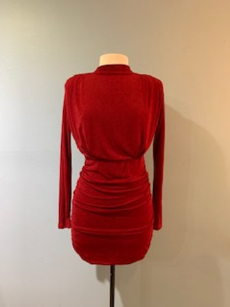 Cranberry Dress with Ruching
