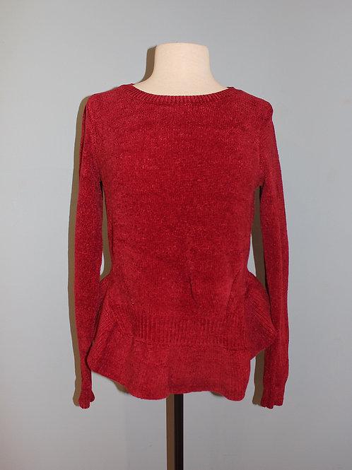 red peplum sweater