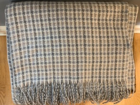 Gray and Camel Check Winter Scarf