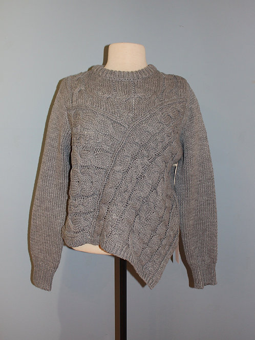 grey asymmetric cableknit sweater