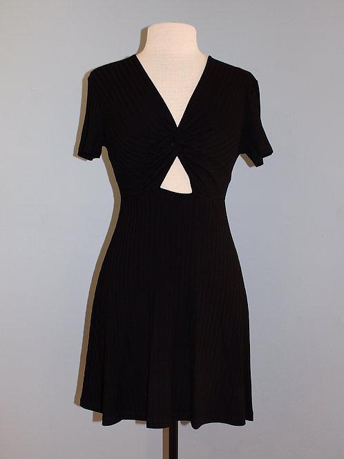twist front ribbed knit dress