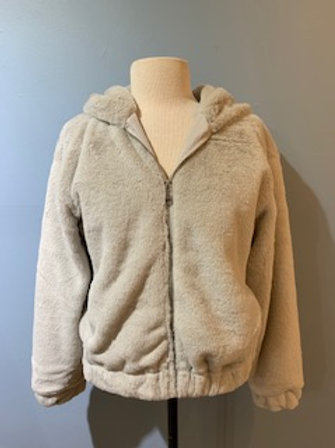 Short Faux Fur Jacket With Zipper