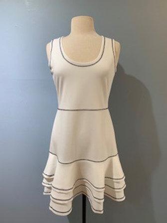 White Tiered Ruffle Dress With Black Trim