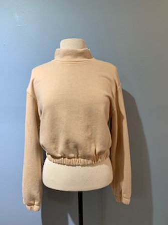 Cropped Mock Neck Terry Sweatshirt