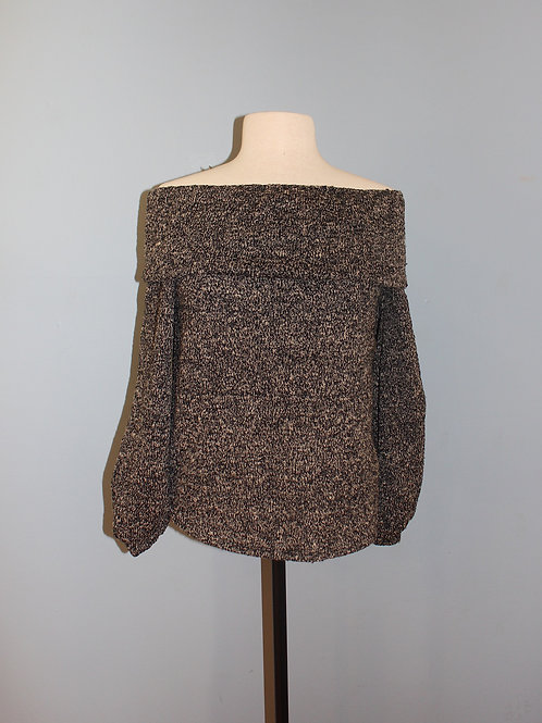 marled off the shoulder sweater