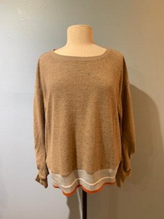 Mocha Sweatshirt with Trim and Sleeve Detail