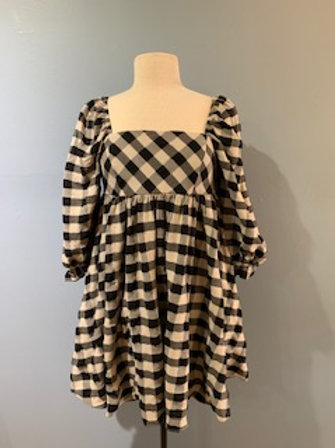 Black And Cream Checked Dress