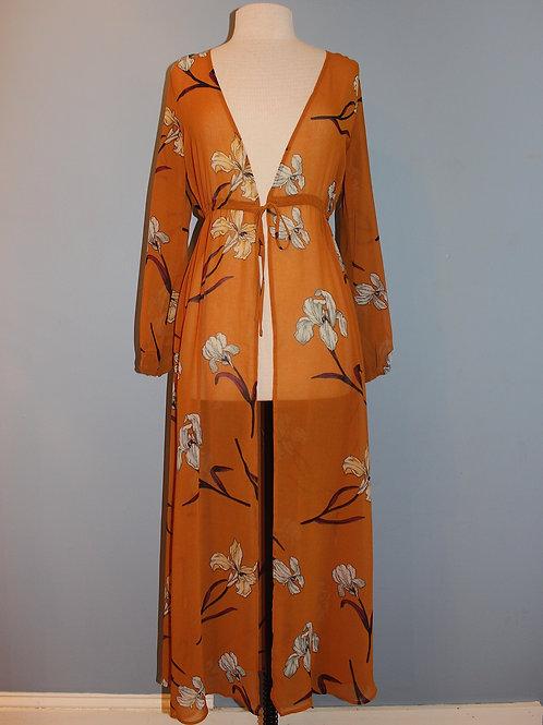 mustard open front kimono